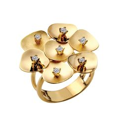Lilipad Ring in 14k gold alternating high-polish and matte-finish petals with 0.25 ct. t.w. diamonds; $2,125; I. Reiss, Great Neck, N.Y.; 516-482-7900; ireiss.com