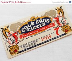 ON SALE One 1 Large Vintage Circus Ticket  1 by LisasCraftShoppe, $9.00