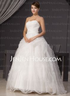 Wedding Dresses - $176.99 - A-Line/Princess Sweetheart Floor-Length Organza Satin Wedding Dresses With Ruffle (002014468) http://jenjenhouse.com/A-line-Princess-Sweetheart-Floor-length-Organza-Satin-Wedding-Dresses-With-Ruffle-002014468-g14468