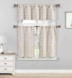 Polycotton Floral Vine Kitchen Curtain Drape Tier & Valance Swag Set - Blue #DESIGNERLINENS #Contemporary