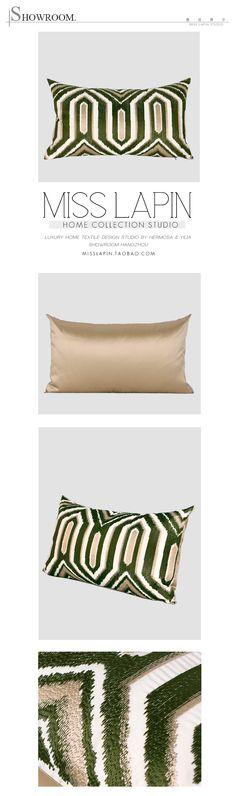 新古典/样板房家居软装设计师靠包抱枕/绿色古典几何图案绣花腰枕-淘宝网