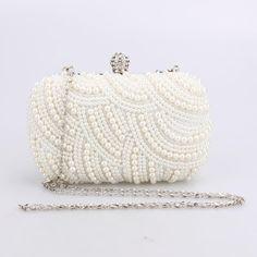 Women Crystal Evening Clutch Bag Rhinestone Wedding Purse Party Handbag Lady clutches Diamond Pearl Beads Female Chains Bag