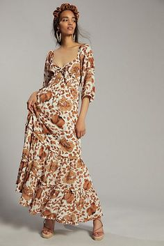 Felicity Embroidered Maxi Dress | Anthropologie Casual Wedding Guest Dresses, Casual Wedding Attire, Unique Dresses, Fall Dresses, Anthropologie Wedding, Anthropologie Uk, Robes D'occasion, 50 Fashion, Travel Fashion