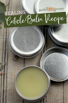 Healing Cuticle Balm Recipe - This soothing cuticle balm is packed with an herbal blend that will mend those cracks and make hands soft again.#gardentherapy #cuticlebalm #plantbasedbeauty #naturalbeauty #diybeauty