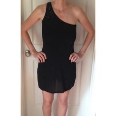 White House black market | Black dress Black dress with one shoulder bejeweled strap.  Sheer sparkly overlay with slip (lining) underneath. Very cute for night out or formal White House Black Market Dresses Midi
