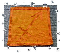 Sagittarius Zodiac Symbols, Dishcloth, Sagittarius, Squares, Astrology, Knitting Patterns, How To Make, Baby, Knit Patterns