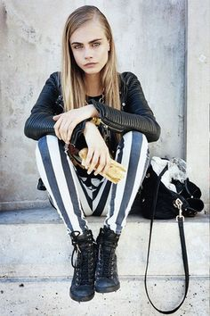 Motel Rocks Jordan Jean in Black/White Stripe - as seen on Cara Delevingne