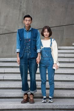 http://chicerman.com  billy-george:  Denim power couple  Spotted at Seoul Fashion Week  Photo by Carl Jones Sol-Sol Street  #streetstyleformen