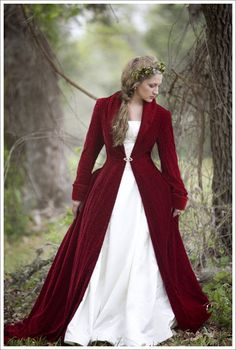 I love the style and length of this red velvet coat. prefer it in a royal or ice blue though