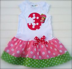 Strawberry Shortcake  Dress. Available in 0-3 months through 6/8 on Etsy, $26.00