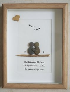 Pebble Art framed Picture Best Friends by Jewlls4u on Etsy