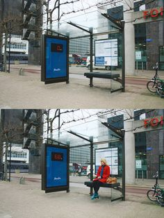Don't know how I would feel about this...  'Fantastic albeit terrifying guerrilla marketing initiative from the health club chain, Fitness First. Unsuspecting commuters in the Netherlands are faced with viewing their body weight in bright lights when they take a seat at this Rotterdam bus stop.'