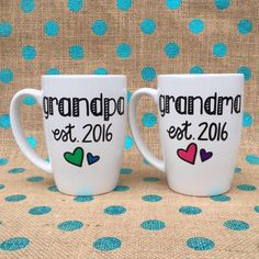 Grandparent Coffee Mug Set Grandma and Grandpa Est 2016 Hand Painted... ($32) ❤ liked on Polyvore featuring home, kitchen & dining, drinkware, drink & barware, grey, home & living, mugs, mom coffee mug, heart shaped mug and ceramic mugs