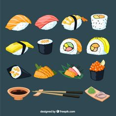 Sushi collection Free Vector