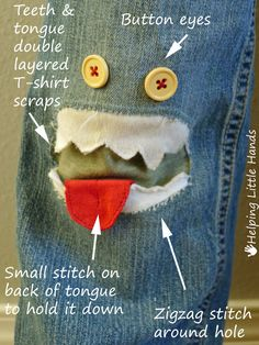 Helping Little Hands: Monster Patch for Jeans - KCWC Day 1