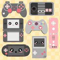 arttherapyfortheslightlyinsane: Cute Video Game Clip Art- Videogame Clipart, Geek, Controllers, Digital Stickers, Girl Gamer, Kawaii, Pink, Free Commercial and Personal Use