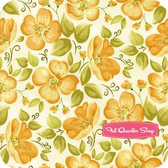 Blushing Sunny Yellow  Large Floral on Cream Yardage SKU# 7875-43