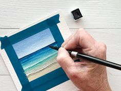 Step-by-Step Learn How to Paint a Beach Horizon using Watercolor Watercolor Paintings For Beginners, Watercolor Art Lessons, Watercolour Tutorials, Watercolor Techniques, Small Canvas Paintings, Small Canvas Art, Diy Canvas Art, Ink Paintings, Watercolor Ocean