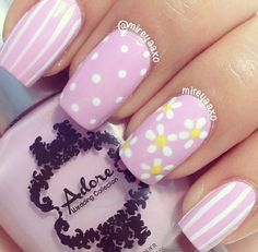 15 Super Cute Dots and Stripes Nail Designs Baby blue instead - daffodil yellow tips, white dots. Ring finger - baby blue with the white flowers and daffodil yellow centers.