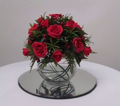 Bubble Vase with Foam Roses