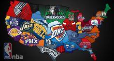 NBA regions by teams.