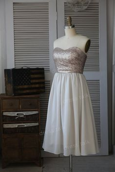 Champagne Gold Sequin/Grey Chiffon Bridesmaid Dress/Prom Dress/Wedding Dress Strapless Knee Length Short Dress on Etsy, $99.00