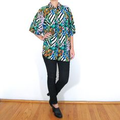 Oversized Floral Silk Button Up  Abstract Floral by ColonyVtg