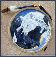 Eternal Embrace~Wolf Drum~Art by Sandra SanTara~Can be purchased here: http://www.etsy.com/listing/268903616/white-black-wolf-yin-yang-drum