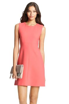 Carrie Dress by Diane Von Furstenberg in Nectar color. The Carrie Dress is a classic sleeveless shift dress that has a slight stretch and exposed back zipper.