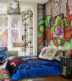 Graffiti wallpaper for bedroom, Art takes many shapes to adorn our life and make it more exciting. One recent art is graffiti which began on the streets previously categorized as a sort of vandalism Cool Bedrooms For Boys, Awesome Bedrooms, Bedroom Art, Teen Bedroom, Dream Rooms, Dream Bedroom, Skateboard Bedroom, Graffiti Bedroom, Graffiti Kunst