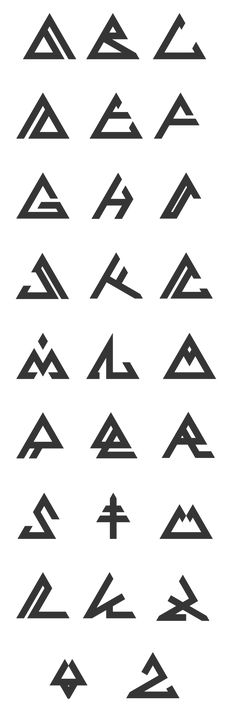 Comment: I like the idea of using a fixed shape (in this case- a triangle) to base a series of symbols. It reminds me how Bionicle had an alphabet that used circular symbols. Alphabet Symbols, Graffiti Alphabet, Glyphs Symbols, Tattoo Alphabet, Alphabet Style, Mayan Symbols, Abc Alphabet, Alphabet Design, Viking Symbols