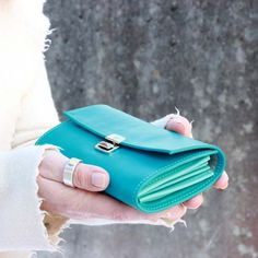 cute long leather wallets turquoise