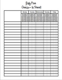 Daily 5 Check In Sheet. Brilliant!  from: Miss Nguyen's Class- blog