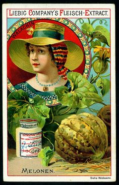 1890.  Fruit & National Beauties (Melons, Wallachia) trading card issued by Liebig Extract of Beef Company.  S269.
