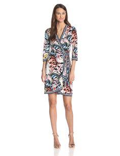 BCBGMAXAZRIA Women's Adele Printed Wrap Dress at Amazon Women's Clothing store: