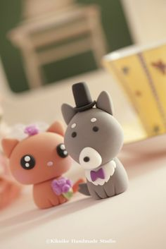 wolf and kitty Wedding Cake Topper