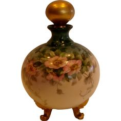 French Limoges Hand Painted Footed Perfume Cologne Bottle Wild Pink Roses Gold…