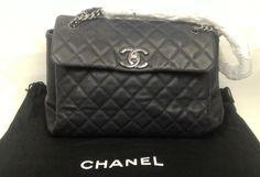 100% Authentic CHANEL Caviar Leather Flap Bag Dark Blue MINT #CHANEL #Flap