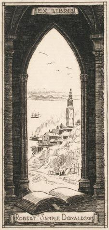 Horatio Nelson Poole (American, 1884-1949).  Port of San Francisco, View of the Ferry Building.  Ex Libris for Robert Sample Donaldson.  Etching, 1921. Initialed and dated in plate. Some minor foxing.  2 x 2-1/4 inches.  31403c  $65