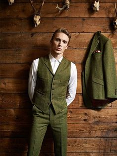 This olive color Waistcoat is amazing to have
