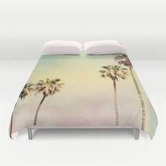 Art Duvet Cover Palm Trees 2 fine art photography home decor bedding bedroom bed pink yellow aqua blue light mint green pastel modern #ultramodernhomedesign