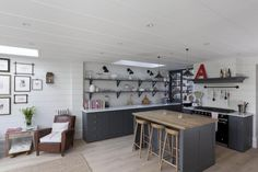Gray and white London kitchen renovation, open shelving inspired by French bistros, Remodelista -looks so much like how I decorate my own home-A Wooden Kitchen, New Kitchen, Kitchen Dining, Rustic Kitchen, Kitchen Island, Kitchen Tables, Kitchen Shelves, Country Kitchen, Dining Area