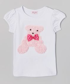 Look at this White Rosette Teddy Bear Tee - Infant, Toddler & Girls on #zulily today!