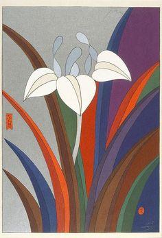 May - iris, (1979), Fantasies on Japanese playing cards (set No.1) by Awazu Kiyoshi :: The Collection :: Art Gallery NSW