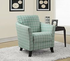 "Monarch Specialties Faded Green ""Angled Kaleidoscope"" Fabric Accent Chair, 35-Inch"