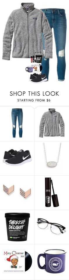 """Christmas music started"" by halledaniella ❤ liked on Polyvore featuring J Brand, Patagonia, NIKE, Kendra Scott and FOSSIL"