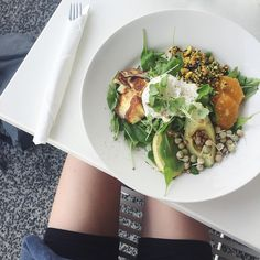@oliviaroundtown: special treat brunch the other day • halloumi, avo, sprouts, rocket, balsamic, orange, tamari roasted nuts + a poached egg... omg 👌🏼🍁 #OliviaRoundAuckland