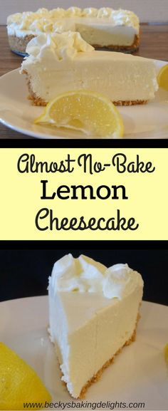 This almost no-bake lemon cheesecake is a light cheesecake texture that is smooth and extra creamy. This cool Summer dessert is made with real lemons and is a refreshing treat topped with homemade whipped cream.