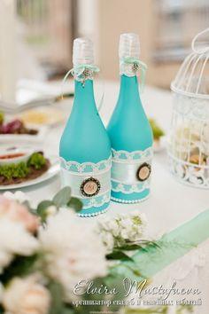 бутылки на свадьбу декор шампанского декор бутылок голубая свадьба шампанское бутылки свадьба wedding