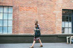 women fashion outfit idea-plaid and denim